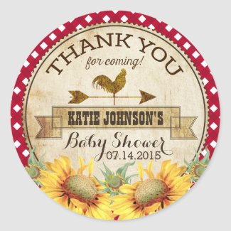 Country Sunflowers and Gingham Check Baby Shower
