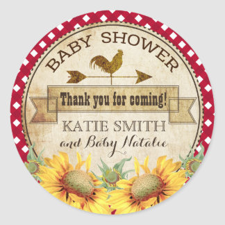 Country Sunflowers and Gingham Check Baby Shower Classic Round Sticker