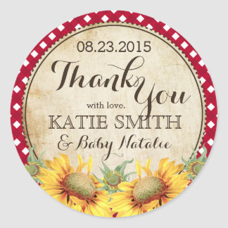 Country Sunflowers and Gingham Check Thank You Classic Round Sticker