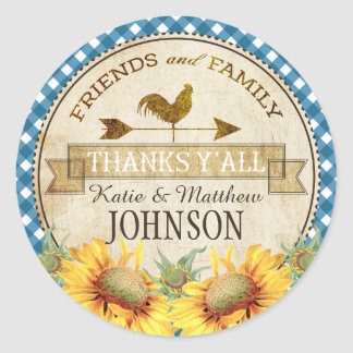 Country Sunflowers Blue Gingham Check Thank You Classic Round Sticker