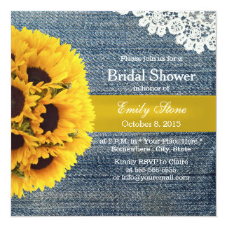 Country Sunflowers Blue Jeans Bridal Shower Card