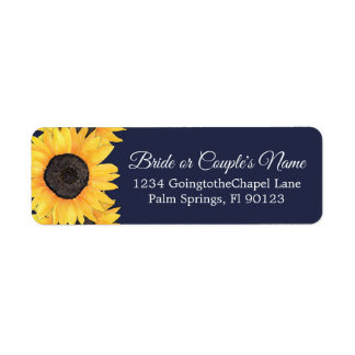Country Sunflowers Blue Return Address Label