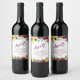 Country Sunflowers Burgundy Roses Floral Wedding Wine Label