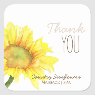 Country Sunflowers Business Thank You Square Sticker