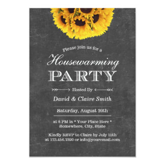 """Country Sunflowers Chalkboard Housewarming Party 5"""" X 7"""" Invitation Card"""