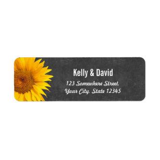 Country Sunflowers Chalkboard Return Address Label