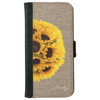 Country Sunflowers Faux Burlap with Name Wallet Phone Case For iPhone 6/6s