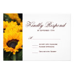 Country Sunflowers Floral Wedding RSVP Cards Personalized Invitation