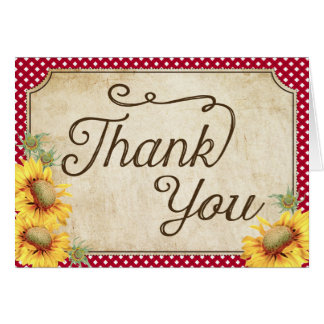 Country Sunflowers Gingham Check Rustic Thank You Card