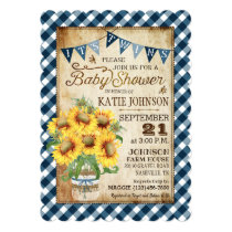 Country Sunflowers Gingham Check Twins Baby Shower Invitation