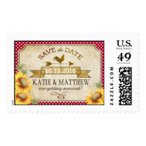 Country Sunflowers Gingham Rustic Save the Date Postage