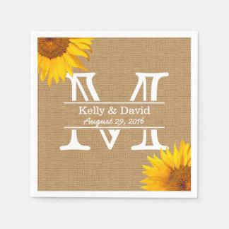 Country Sunflowers Monogram Burlap Rustic Wedding Standard Cocktail Napkin