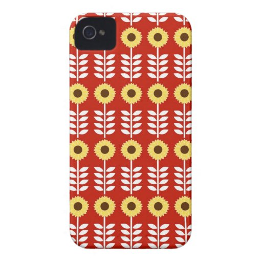 Country Sunflowers on Red iPhone 4 Case