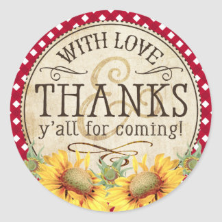 Country Sunflowers Red Gingham Check Thank You Classic Round Sticker
