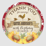 Country Sunflowers Rooster Bandanna Thank You Classic Round Sticker