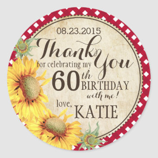 Country Sunflowers Rustic Thank You Label Classic Round Sticker