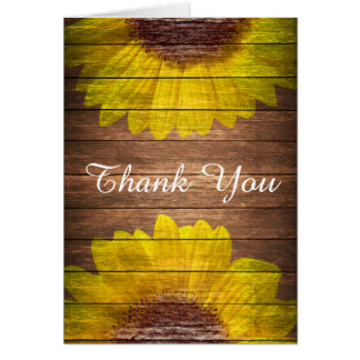 Country Sunflowers Rustic Vintage Wood Thank You Stationery Note Card