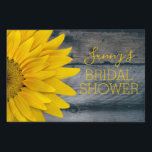 "Country Sunflowers Rustic Wood Bridal Shower Lawn Sign<br><div class=""desc"">Elegant, rustic sunflowers and wood bridal shower yard sign is personalized with name and reads &#39;Bridal Shower&#39;, (which may be changed to any event) in sunny yellow lettering on the right. On the left side is a colorful, matching yellow sunflower, which is an actual photo. Background is old, faded gray...</div>"