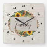Country Sunflowers Rustic Wood Family Square Wall Clock