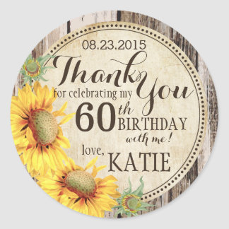 Country Sunflowers Rustic Wood Thank You Label