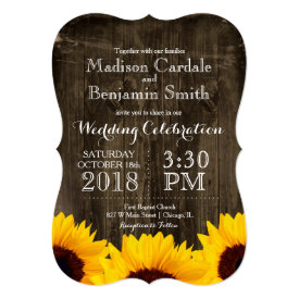 Country Sunflowers Rustic Wood Wedding Invitations 5