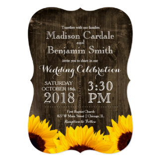 Country Sunflowers Rustic Wood Wedding Invitations