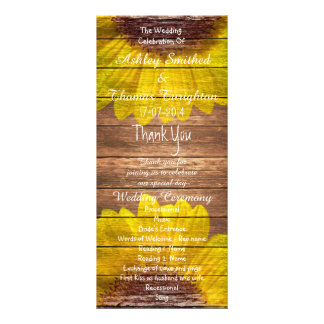Country Sunflowers Rustic Wood Wedding Programs Rack Card Design