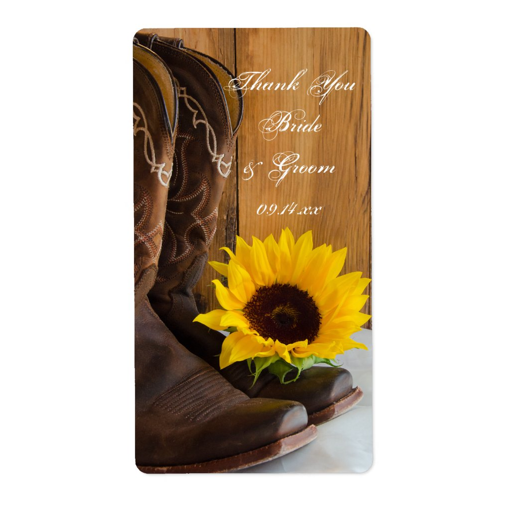Country Sunflowers Wedding Thank You Label 5 sheets.