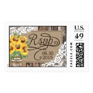 Country Sunflowers Wood Lace Rustic Wedding RSVP Stamp