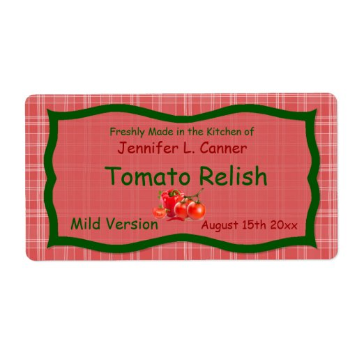 Country Sunglo Red Plaid with Tomatoes Food Label