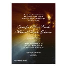 Country Sunrise Tree Silhouette Wedding Invitation