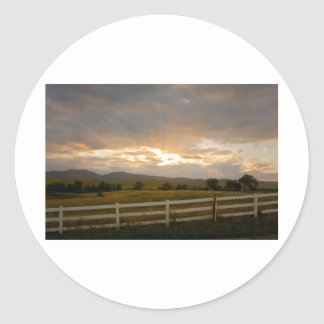 Country Sunset Classic Round Sticker