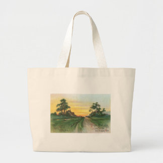 Country Sunset New Year Wishes Large Tote Bag