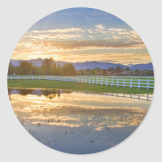 Country Sunset Reflection Classic Round Sticker