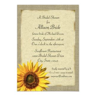 Country Sunshine Sunflower Bridal Shower 5x7 Paper Invitation Card