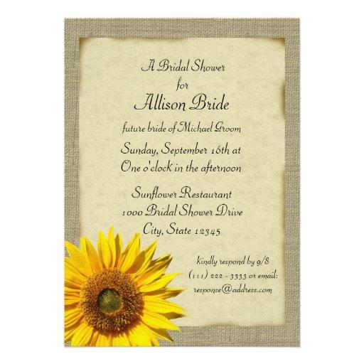 Country Sunshine Sunflower Bridal Shower Custom Invitations