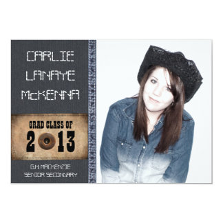 Country Sweetheart Girl Grad Denim Jean Style Card