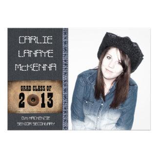Country Sweetheart Girl Grad Denim Jean Style Invite