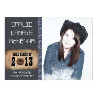 Country Sweetheart Girl Grad Denim Jean Style 5x7 Paper Invitation Card