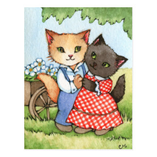 Country Sweethearts - Cute Cat Couple Art Postcard