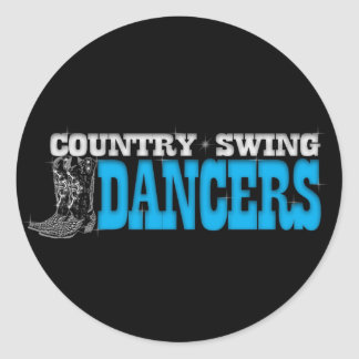Country Swing Dancers Window Decal Round Sticker