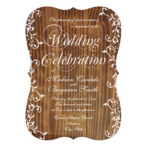 Country Swirl Rustic Barn Wood Wedding Invitations