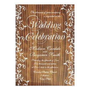 Country Swirl Rustic Wood Wedding Invitations