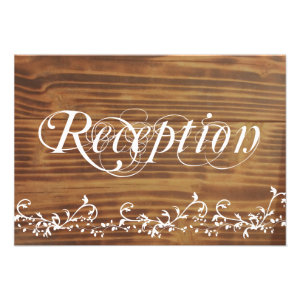 Country Swirl Rustic Wood Wedding Reception Cards