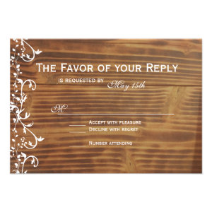 Country Swirl Rustic Wood Wedding RSVP Cards