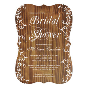 Country Swirls Rustic Wood Bridal Shower Invites