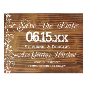 Country Swirls Rustic Wood Save the Date Postcards