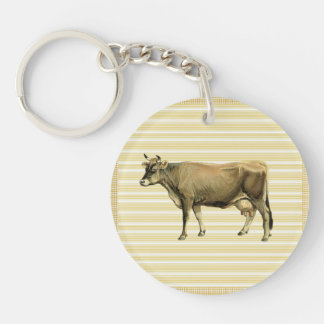 Country Tan Cow Beige Stripe Gingham Check Decor Keychain