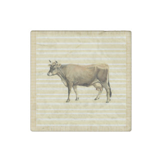 Country Tan Cow Beige Stripe Gingham Check Decor Stone Magnet
