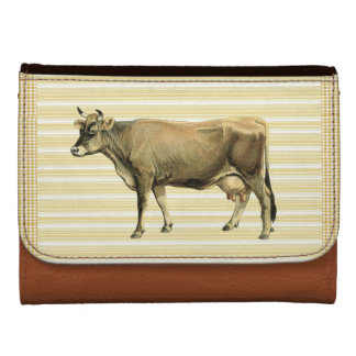 Country Tan Cow Beige Stripe Gingham Check Design Leather Wallet For Women
